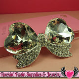 Large Clear Mirror Heart BOW with Crystal Rhinestones Silver Alloy DIY Cabochon Cellphone Decoration - Rockin Resin  - 1