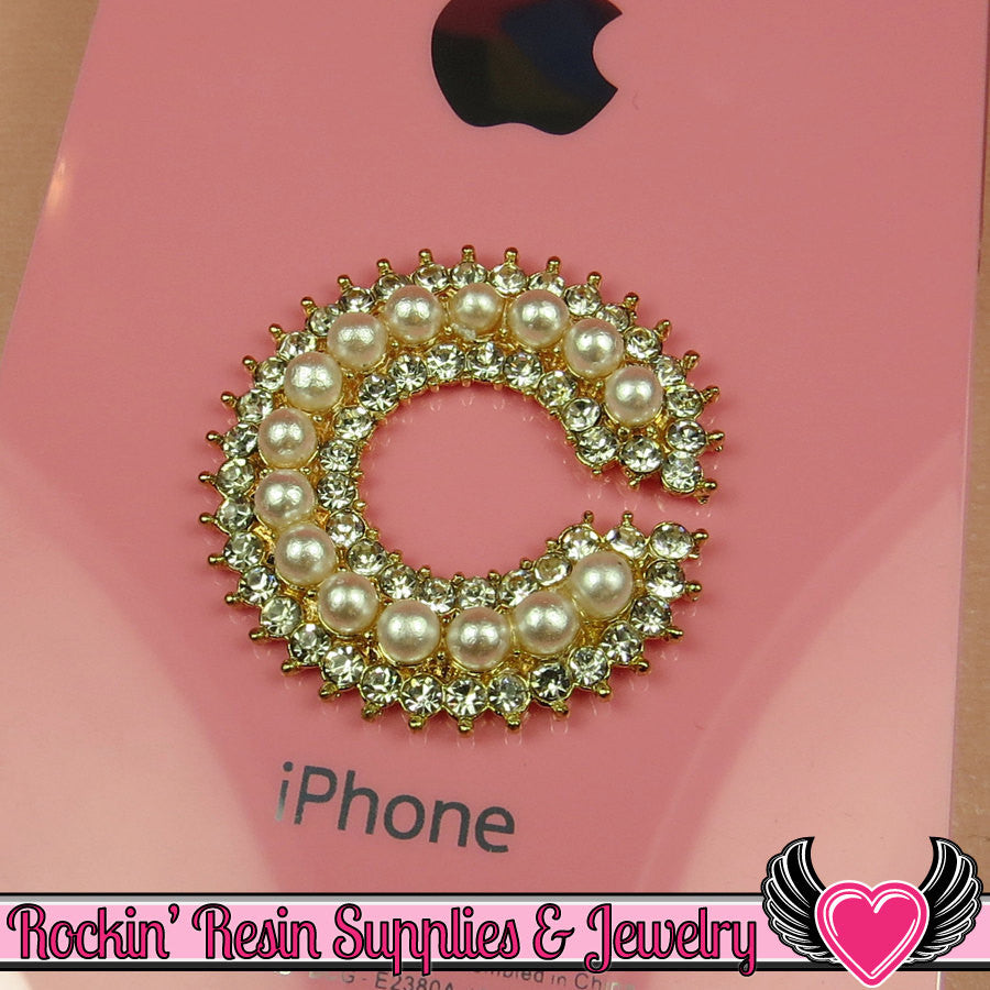 C Initial Pearl & Rhinestone Gold Alloy Girly DIY Cabochon Cellphone Decoration