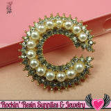 C Initial Pearl & Rhinestone Gold Alloy Girly DIY Cabochon Cellphone Decoration - Rockin Resin  - 2