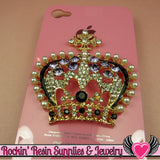 3D Purple & Pearl Royal CROWN Blinged Out Gold Tone Alloy DIY Cabochon Cellphone Decoration - Rockin Resin  - 3