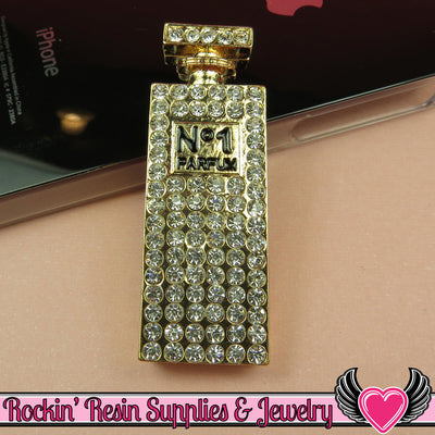Tall PERFUME BOTTLE Gold Tone Alloy with Crystals Decoden Cabochon DIY Cellphone Decoration - Rockin Resin  - 1