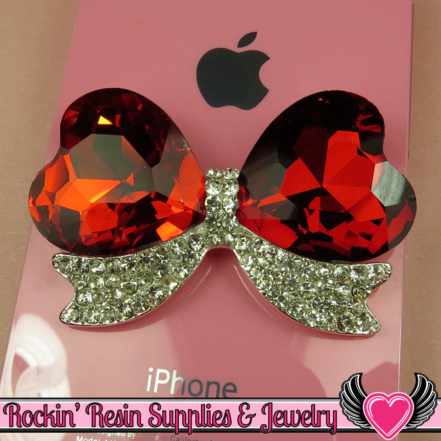 Large Red Heart BOW with Crystal Rhinestones Silver Alloy DIY Cabochon Cellphone Decoration