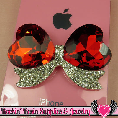 Large Red Heart BOW with Crystal Rhinestones Silver Alloy DIY Cabochon Cellphone Decoration - Rockin Resin  - 1