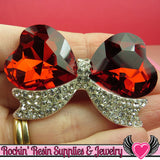 Large Red Heart BOW with Crystal Rhinestones Silver Alloy DIY Cabochon Cellphone Decoration - Rockin Resin  - 2