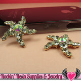 2pc STARFISH Nautical Rhinestone Gold Alloy DIY Cabochon Cellphone Decoration - Rockin Resin  - 2