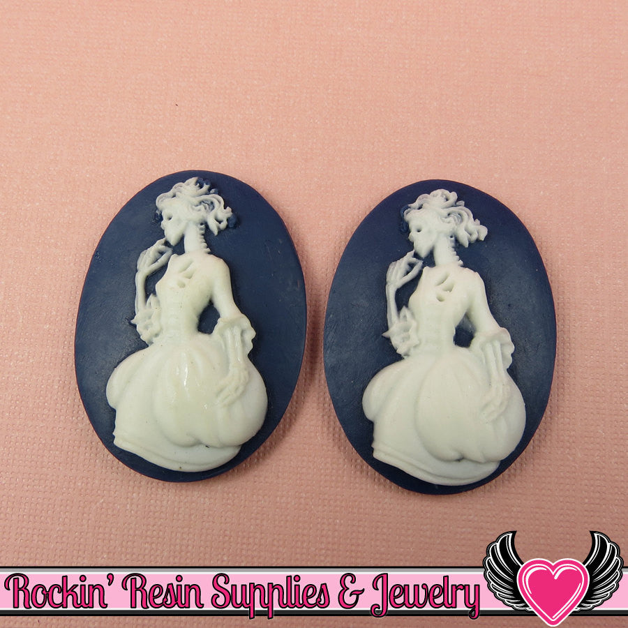 2 pc VICTORIAN ZOMBIE in GOWN Skeleton Resin Cameos 30x40mm Navy Blue & White - Rockin Resin