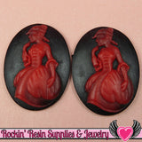 30x40mm VICTORIAN Lady in Gown Resin Cameos (2 pieces ) Black & Red - Rockin Resin