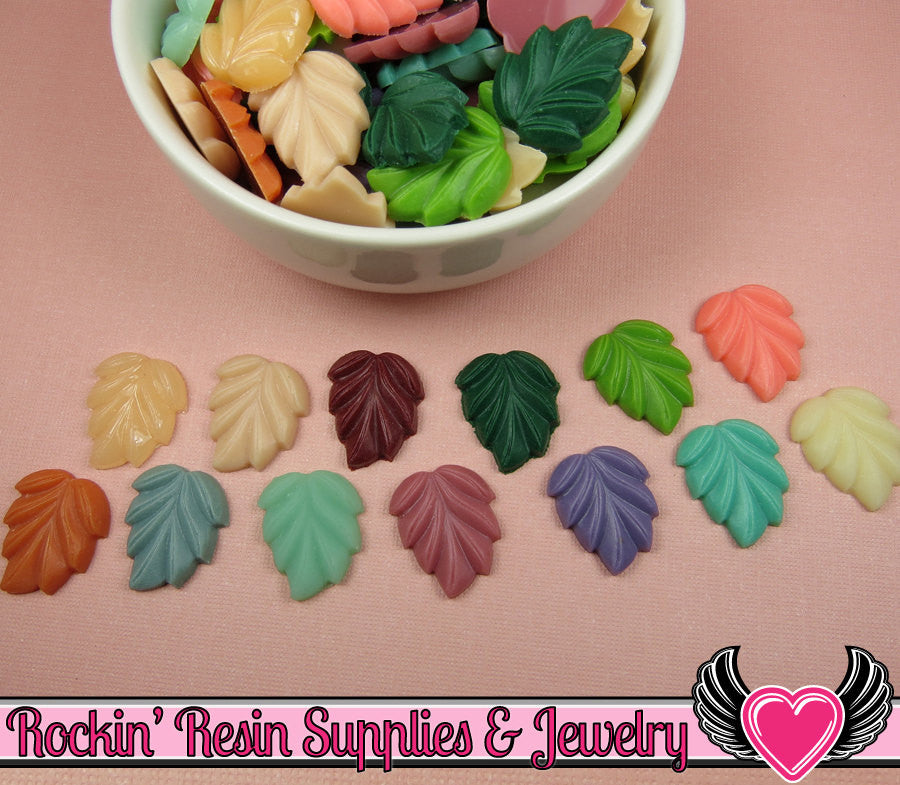 6 pcs LEAVES Flatback Resin Decoden Cabochons 21x18mm - Rockin Resin  - 1