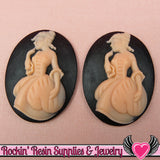 30x40mm VICTORIAN Lady in Gown Resin Cameos (2 pieces ) Black & Pink - Rockin Resin