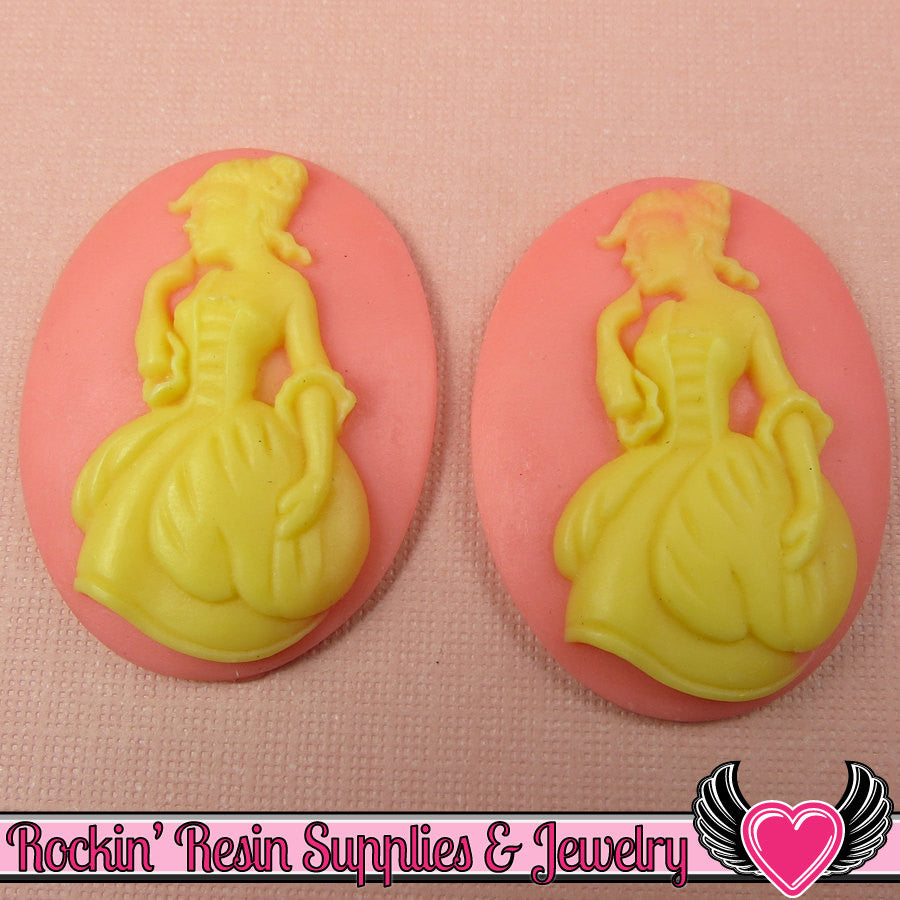 30x40mm VICTORIAN Lady in Gown Resin Cameos (2 pieces ) Pink & Ivory - Rockin Resin