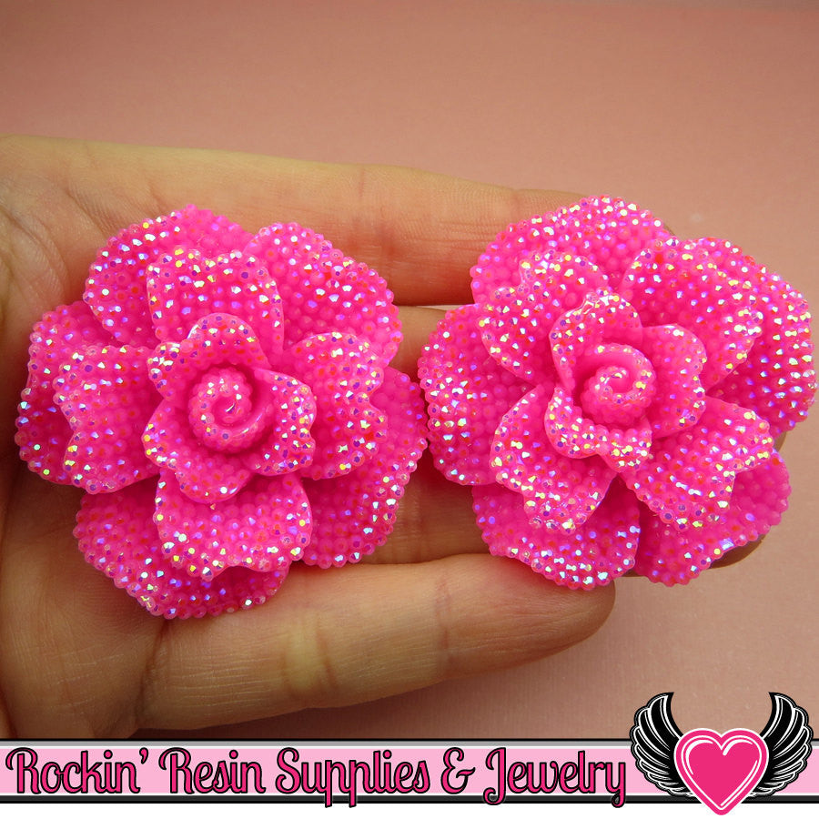 2 pcs Faux RHINESTONE AB Super Hot PINK 45mm Decoden Flatback Resin Flower Cabochons
