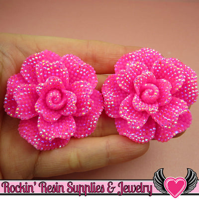 2 pcs Faux RHINESTONE AB Super Hot PINK 45mm Decoden Flatback Resin Flower Cabochons - Rockin Resin  - 1