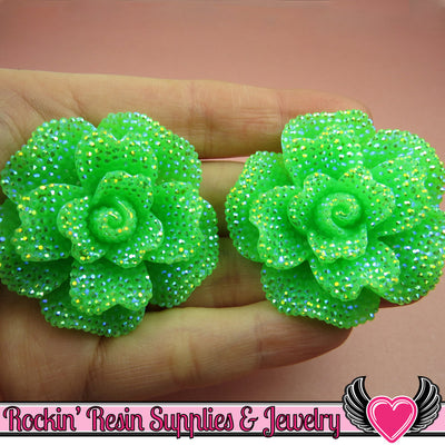 2 pcs Faux RHINESTONE AB Neon GREEN 45mm Decoden Flatback Resin Flower Cabochons - Rockin Resin  - 1
