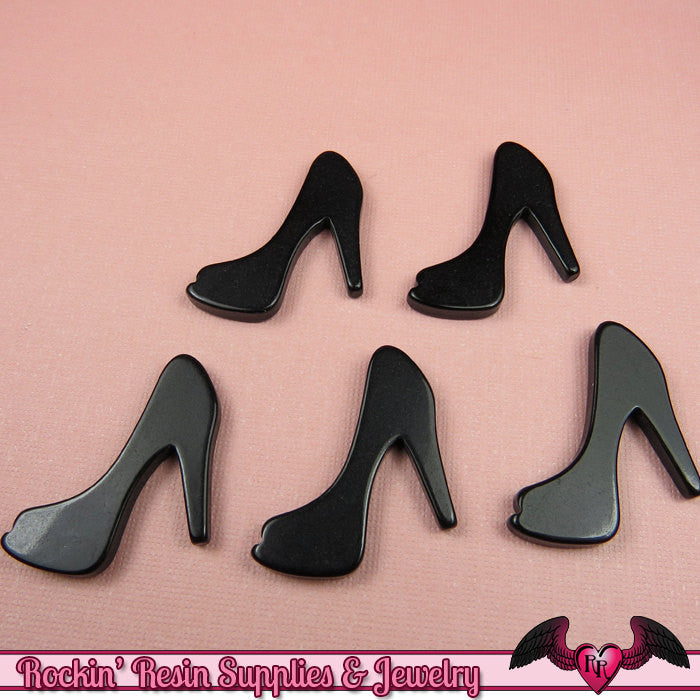 5 pcs Black HIGH HEEL SHOE Girly Resin Flatback Decoden Cabochon 25x30mm - Rockin Resin  - 1