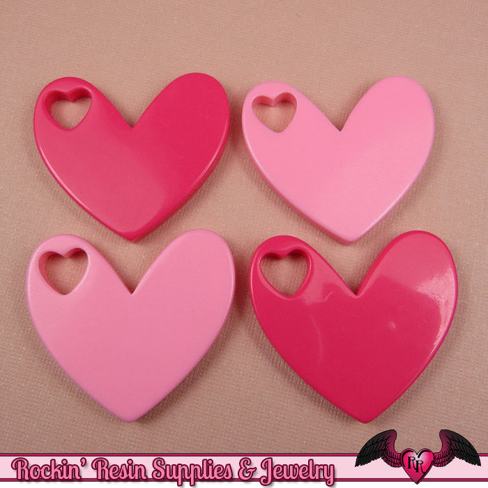 4 Pcs HEART WITHIN a HEART Light Pink & Hot Pink Decoden Flatback Resin Cabochons