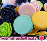 Grade B Seconds 4 JUMBO ROSE Beads 45 to 48mm - Rockin Resin  - 5