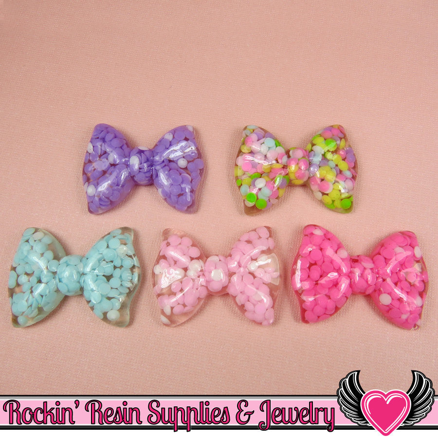 5pc Clear BOWS with Rhinestones Inside Resin Flatback Cabochons 36x27mm