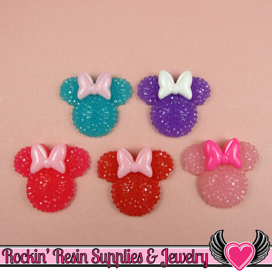 6pc Sparkly Fake Rhinestone MOUSE HEADS with BOW Resin Kawaii Cabochons - Rockin Resin