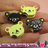 4 pieces TEDDY BEAR Head Cake Sweets Kawaii Decoden Flatback Cabochon 20x14mm - Rockin Resin