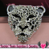 CHEETAH Animal Head Silver and Black with Crystals Decoden Cellphone Cabochon Decoration - Rockin Resin  - 1