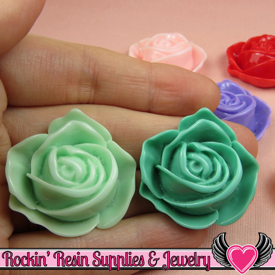 6 pc 34mm Large Rose Bud Flower Cabochons - Rockin Resin  - 1