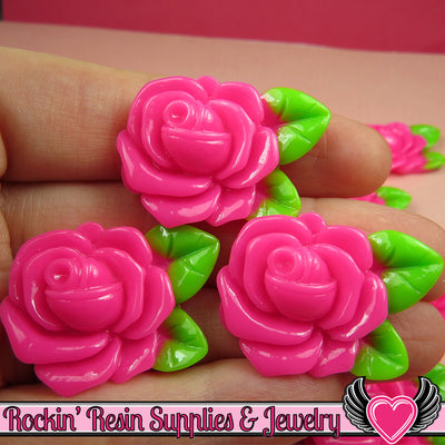 Large Pink Rose with Leaves Resin Flower Cabochons 32mm - Rockin Resin  - 1