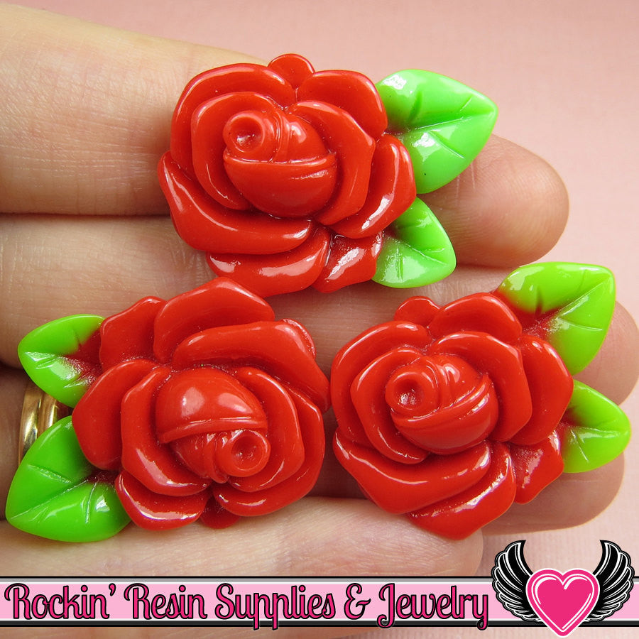 Large Red Rose with Leaves Resin Flower Cabochons 32mm
