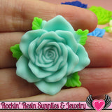 Beautiful Large Roses with Leaves Resin Flower Cabochons 36mm - Rockin Resin  - 3
