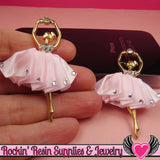 2 pc PINK BALLERINA Tutu with Crystals Decoden Cellphone Cabochon Decoration - Rockin Resin  - 2
