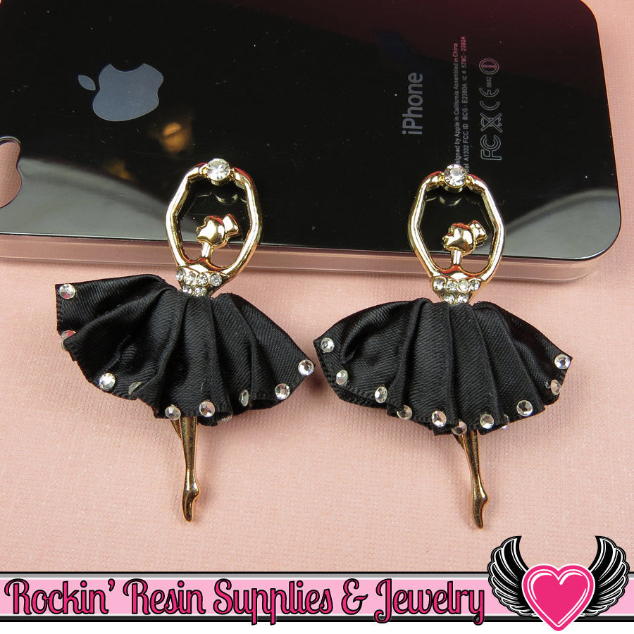 2 pc Black BALLERINA Tutu with Crystals Decoden Cellphone Cabochon Decoration - Rockin Resin  - 1