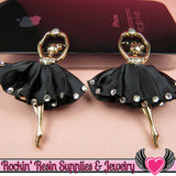 2 pc Black BALLERINA Tutu with Crystals Decoden Cellphone Cabochon Decoration - Rockin Resin  - 2