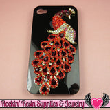 XL Vibrant RED PEACOCK Crystal Covered Gold Alloy Bird Decoden Cabochon Cellphone Decoration - Rockin Resin  - 1