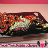 XL Vibrant RED PEACOCK Crystal Covered Gold Alloy Bird Decoden Cabochon Cellphone Decoration - Rockin Resin  - 3