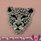 CHEETAH Animal Head Silver and Black with Crystals Decoden Cellphone Cabochon Decoration - Rockin Resin  - 2