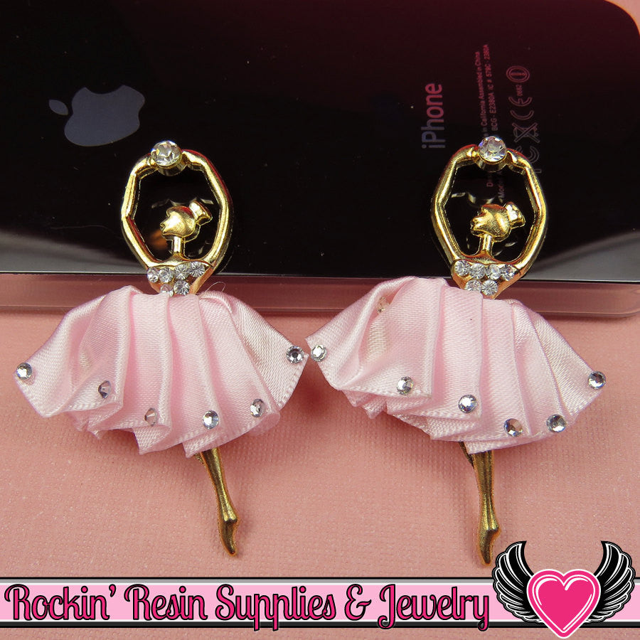 2 pc PINK BALLERINA Tutu with Crystals Decoden Cellphone Cabochon Decoration - Rockin Resin  - 1