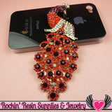 XL Vibrant RED PEACOCK Crystal Covered Gold Alloy Bird Decoden Cabochon Cellphone Decoration - Rockin Resin  - 4