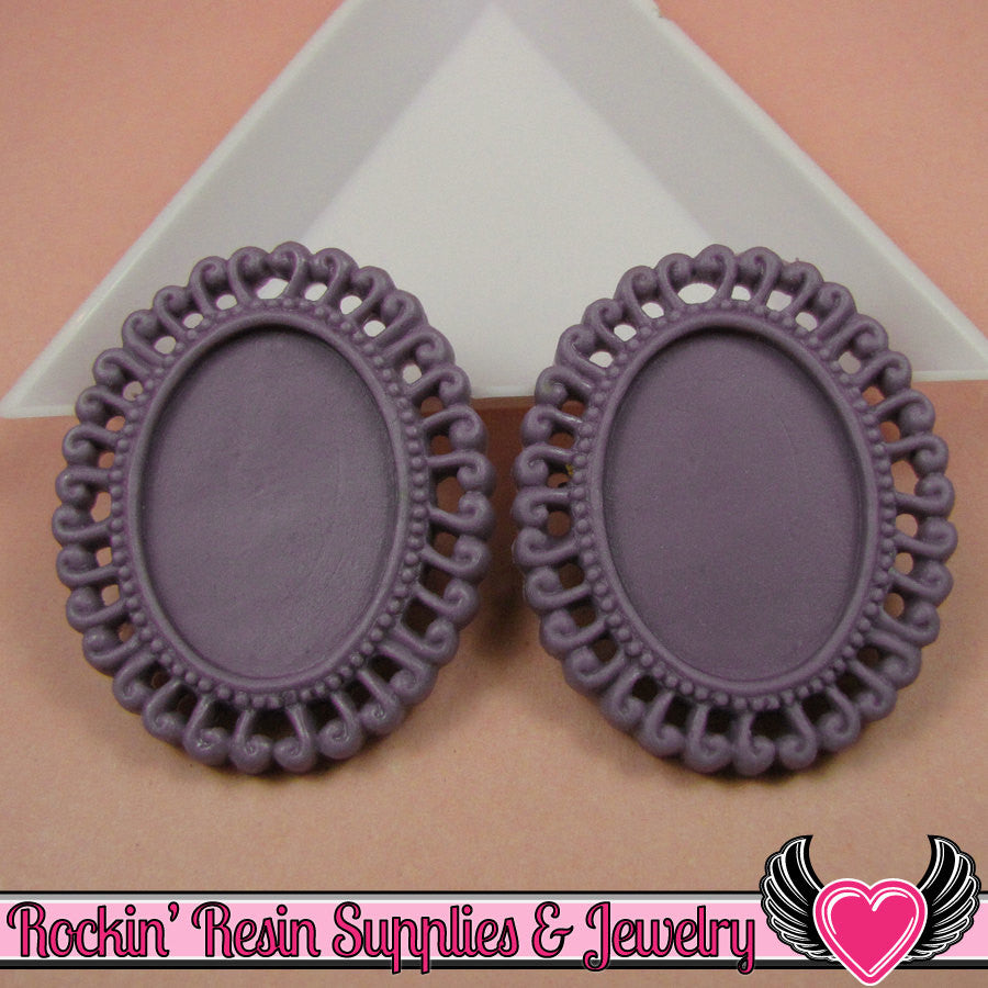 4 pc 24x18mm Purple Swirl Resin Cameo Settings