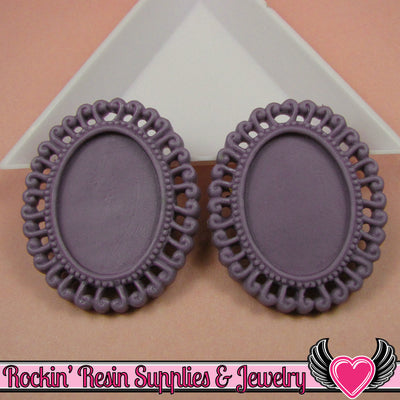 4 pc 24x18mm Purple Swirl Resin Cameo Settings - Rockin Resin