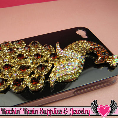 XL Golden Brown Crystal PEACOCK Gold Alloy Bird Cellphone Decoration - Rockin Resin  - 1