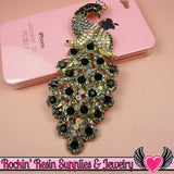 XL Black & Blue Gray Crystal PEACOCK Gold Alloy Bird Cellphone Decoration - Rockin Resin  - 4