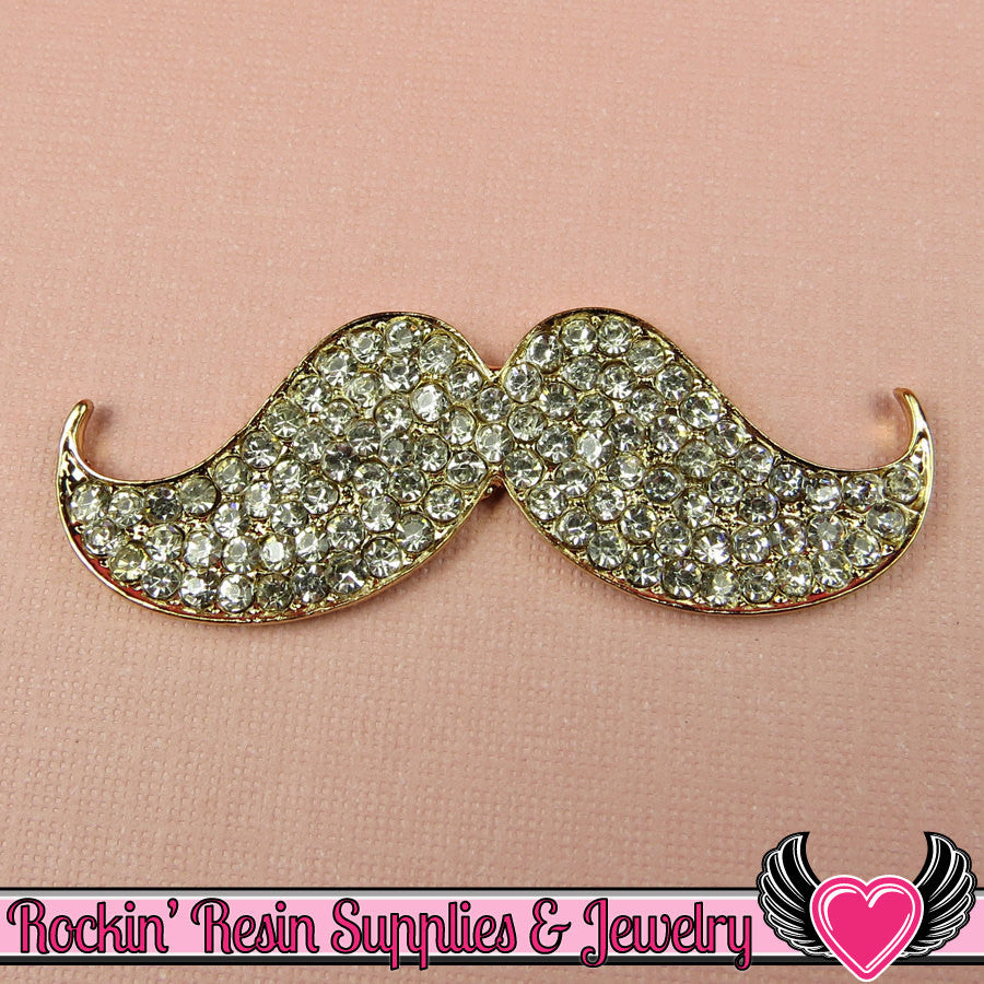 Crystal covered MUSTACHE Flatback Cellphone Decoration 57mm - Rockin Resin  - 1