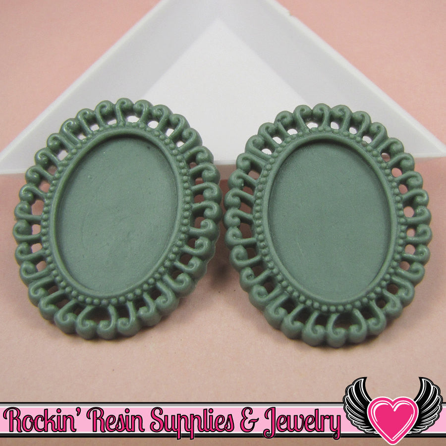 4 pc 24x18mm Swirl Resin Cameo Settings in Dark Slate Blue Green