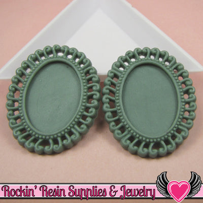 4 pc 24x18mm Swirl Resin Cameo Settings in Dark Slate Blue Green - Rockin Resin