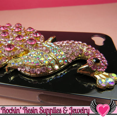XL Hot Pink & Pink Crystal PEACOCK Gold Alloy Bird Decoden Cabochon Cellphone Decoration - Rockin Resin  - 1