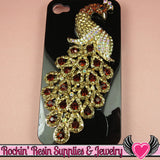 XL Golden Brown Crystal PEACOCK Gold Alloy Bird Cellphone Decoration - Rockin Resin  - 2