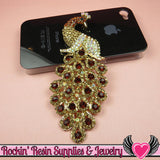 XL Golden Brown Crystal PEACOCK Gold Alloy Bird Cellphone Decoration - Rockin Resin  - 3