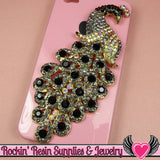 XL Black & Blue Gray Crystal PEACOCK Gold Alloy Bird Cellphone Decoration - Rockin Resin  - 2