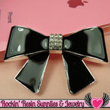 Huge Black BOW with Crystals Silver Alloy DIY Cabochon Cellphone Decoration - Rockin Resin  - 1