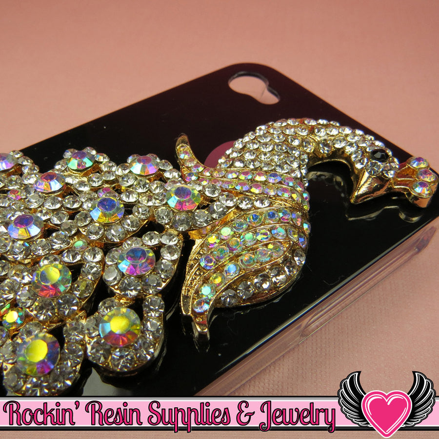 XL AB White Sparkly Crystal PEACOCK Gold Alloy Bird Decoden Cabochon Cellphone Decoration