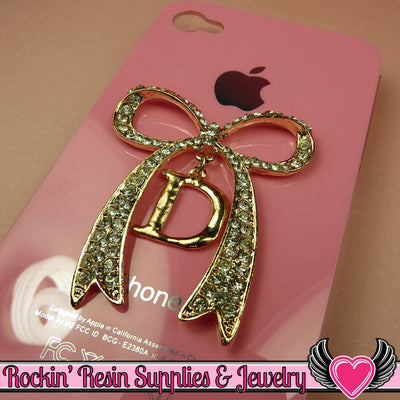 D Initial Rhinestone Gold Alloy Girly DIY Cabochon Cellphone Decoration - Rockin Resin  - 1